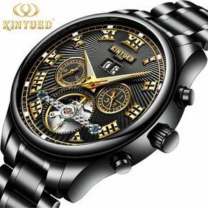 【一点のみ】メンズ高級腕時計 機械式 自動巻き カレンダー 曜日表示 トゥールビヨン 男性ウォッチ 文字盤 夜光 防水 紳士 ブラック