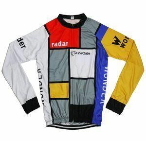 新品 ロードバイク MTB メンズ L No8 レトロデザイン フロントジップ フランス 長袖 ウェア サイクリングWE69