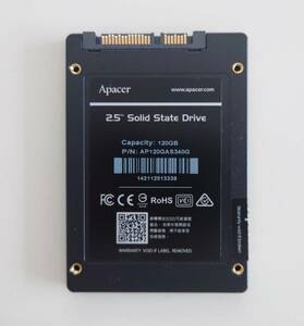 SSD 120GB 2.5インチ 使用時間6時間 電源投入回数14回