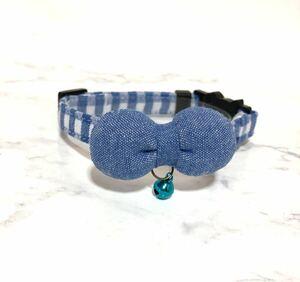 ギンガムチェック×まるリボン ブルー 猫首輪