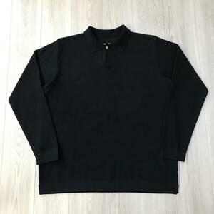 XL大きいサイズsnow peakスノーピークCo/PeドライDryニットPoloポロShirtシャツJAPAN日本製USA Lブラック スウェット Tシャツ キャンプ 黒