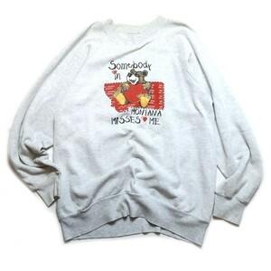 可愛いヴィンテージ! 90s USA製 ONEITA オニータ ベアー クマ ハート プリント 裏起毛 スウェット トレーナー霜降り グレー L メンズ 古着