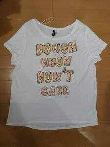 H&M(エイチアンドム)半袖Tシャツ/ドーナツのイラスト/M~Lサイズ