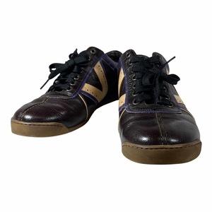 LOUIS VUITTON ルイ ヴィトン GO0057 Vライン メンズ スニーカー 靴 シューズ レザー ブラウン パープル [サイズ 6 (約25cm)]
