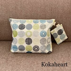 free shipping * laminate * Homme tsu pouch * diapers pouch * Circle green * Mini pouch attaching