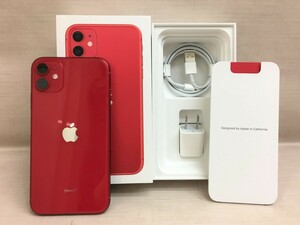 【大黒屋】中古美品 SIMフリー apple iPhone 11 (PRODUCT)Red 64GB MWLV2J/A 利用制限判定△