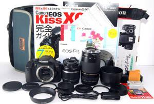 ◆新品同格品&初心者入門◆ Canon キャノン EOS Kiss X6i 手ブレ補正&純正&超望遠Wズームレンズセット 付属品多数有り