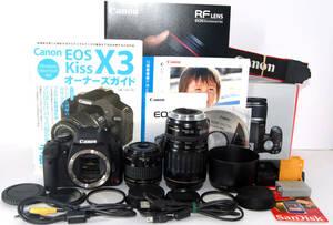◆初心者入門&付属品多数◆ Canon キャノン EOS Kiss X3 純正&超望遠Wズームレンズセット