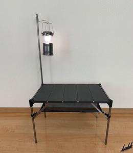 【ランタンポール付き】 アウトドアテーブル 軽量 コンパクト収納 ショックコード連結 ソロキャンプ アウトドア ブラック