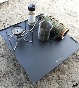 【超コンパクト収納】 ローテーブル 軽量 コンパクト収納袋付き ソロキャンプ ツーリング 耐熱 キャンプ アウトドア ブラック