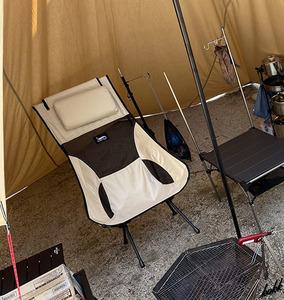 【枕付き一体型チェア】 組み立て式 アウトドア チェア 洗濯可能 コンパクト収納 キャンプ アウトドア 公園 レジャー ベージュ