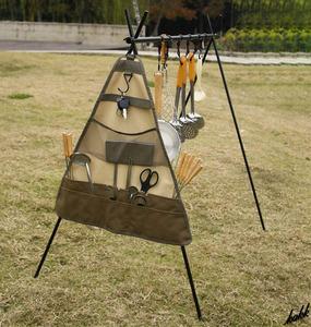 【丈夫な600Dオックスフォード生地】 三角形 ハンギングバッグ 調味料入れ収納袋 クッキングツール キャンプ アウトドア BBQ カー用品
