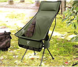 【ドリンクホルダー装備】 アウトドア ハイバックチェア 簡単組み立て コンパクト収納 軽量 キャリーバッグ付き キャンプ 公園 グリーン