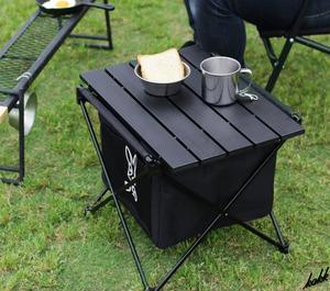 【ソロキャンプにオススメ】 テーブル機能 ポータブルゴミ箱 軽量 コンパクト 3種類分別 サイドトラッシュ アウトドア ブラック DOD