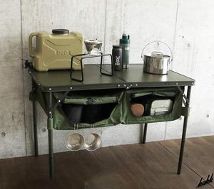 【4段階高さ調節機能】 折りたたみ式 テーブル 大容量収納スペース コンパクト 耐荷重30㎏ サイドポケット アウトドア キャンプ DOD