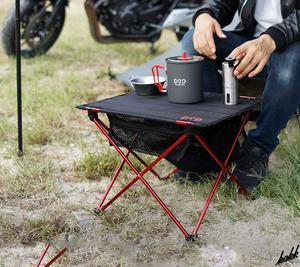 【ツーリングキャンプに最適】 アウトドア 折り畳み式 テーブル カラビナリボン 大型メッシュ ソロキャンプ ツーリング ブラック