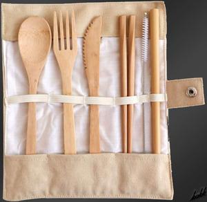 【自然の竹素材食器6点セット】 自然素材 食器 ナイフ フォーク スプーン ストロー 箸 ストローブラシ ポーチ 軽量 竹素材 ベージュ