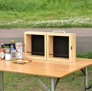 【家からそのまま持っていける】 スパイスボックス 木製 ナチュラルテイスト 収納ケース アウトドア キャンプ キッチン 調味料