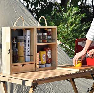 【アルミホイルなども入る大きさ】 スパイスボックス 木製 ナチュラルテイスト 収納ケース アウトドア キャンプ キッチン 調味料