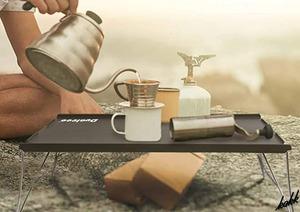 【1分足らずで組み立てられる】 ローテーブル ソロ用 折り畳み式 超軽量 コンパクト 耐熱 キャンプ アウトドア 公園 レジャー ブラック