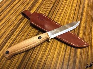 【コンパクトカーボンシースナイフ】 狩猟刀 カーボン鋼 フルタング構造 アッシュウッド製ハンドル キャンプ サバイバル アウトドア