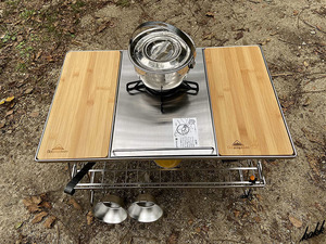 【フラットバーナーにも対応できる】 アウトドア クッキング テーブル コンパクト収納 ウッド天板 調理用テーブル キャンプ アウトドア