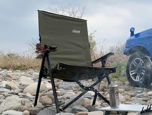 【3段階リクライニング式】 ハイバック チェア 組み立て式 コンパクト収納 収納袋付き キャンプ アウトドア レジャー 公園 オリーブ