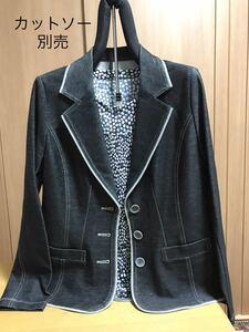 [新品] 激安・在庫処分 Mサイズ 綿混レディースジャケット ミセス・婦人テーラードジャケット デニム調ジャケット 日本製生地 黒色