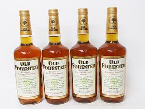 ★オールド フォレスター バーボン ウイスキー OLD FORESTER 90年代中期流通品 *4本セット / アルコール度数:43% 内容量:750ml B