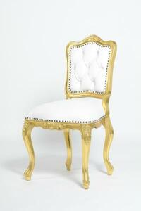 抜群の存在感 アンティーク調 ロココ調 本革 レザー ダイニングチェア サイドチェア 椅子 猫脚 ゴールドxホワイト 高級感 6085-10L16B