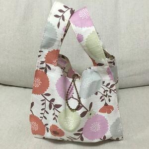 ☆ハンドメイド 手作りコンビニ用エコバッグ お弁当袋 お弁当バッグ かわいい サブバッグ 花柄 エコバッグ ☆