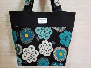 ハンドメイド 北欧風花柄トートバッグ/切り替えバッグ