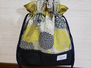 ハンドメイド 北欧風花柄トートバッグ/巾着トートバッグ/巾着袋