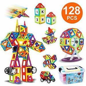 赤、青、黄、緑など iKing 特許あり マグネットおもちゃ ブロック 収納ケース付き 磁気おもちゃ 知育玩具 磁性構築ブロック
