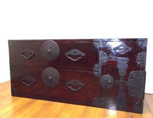 ◆古い前栗製米澤着物箪笥-1◆時代鉄桜丸金具◆古民家◆アンティークチェスト