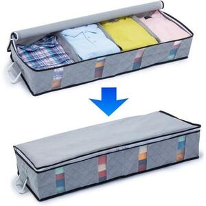 アストロ 収納ケース ベッド下収納 衣類用 グレー 不織布 衣類収納 活性炭 消臭 すき間収納 171-44