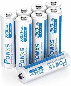 ★サイズ:単3電池8本★ POWXS 単三電池 充電式 ニッケル水素電池 2800mAh 約1500回使用可能 ケース2個付き 8本入り 低自己放電 液漏れ防止