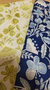 2枚セット 大判カットクロス Wガーゼ 花柄 ボタニカル柄 北欧風 ガーゼ ブルー系 イエロー系花