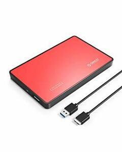 レッド 金属蓋 ORICO USB3.0接続 2.5インチ HDDケース 外付け ドライブケース SATA3.0 対応 SSDケ