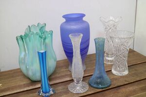 ① set sale glass made flower base 7 point vase one wheel difference flower vase flower go in blue cut glass decoration thing art glass interior 'ZA681
