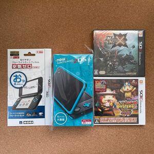 Newニンテンドー2DS LL (ブラック×ターコイズ)+3DSソフト2点+ブルーライトカット液晶保護フィルム