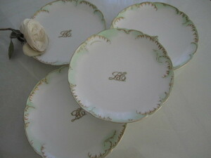 4枚 フランス製 アンティーク リモージュ ペールグリーン モノグラム シンプルエレガンス プレート デザート皿