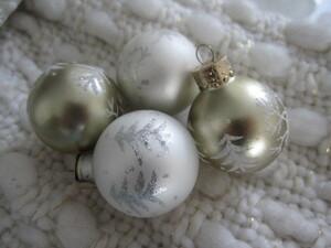 4個 USA ツリー ホワイト ゴールド ミニ ガラスボール クリスマスオーナメント♪ツリー リースに シャビーシックスタイル