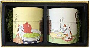 お茶 お中元 ギフト セット│猫茶 和紙缶│可愛い プレゼント 掛川茶 川根茶 茶葉 詰め合わせ 深蒸し茶 みたらしちゃん