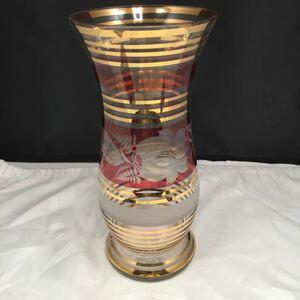 ボヘミアガラス BOHEMIA クリスタルガラス カットガラス 金彩 花瓶 花器 フラワーベース インテリア 雑貨 飾り物 欠けあり