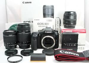 ★【限定!極上美品 50mm単焦点 手ブレ補正 トリプルレンズセット】 Canon EOS 80D ★ EF-S18-55mm IS STM EF-S55-250mm IS II EF50mm F2.8