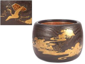 【夢工房】時代 桐 雲鶴 浜松 金蒔絵 火鉢 ( 煎茶瓶掛 ) 重さ2.6kg 径37㎝  ZA-100
