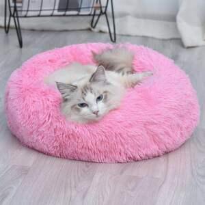 ペットソファ丸ドーナツふわふわペットベッド犬猫用防寒防寒大好評ピンク120cm