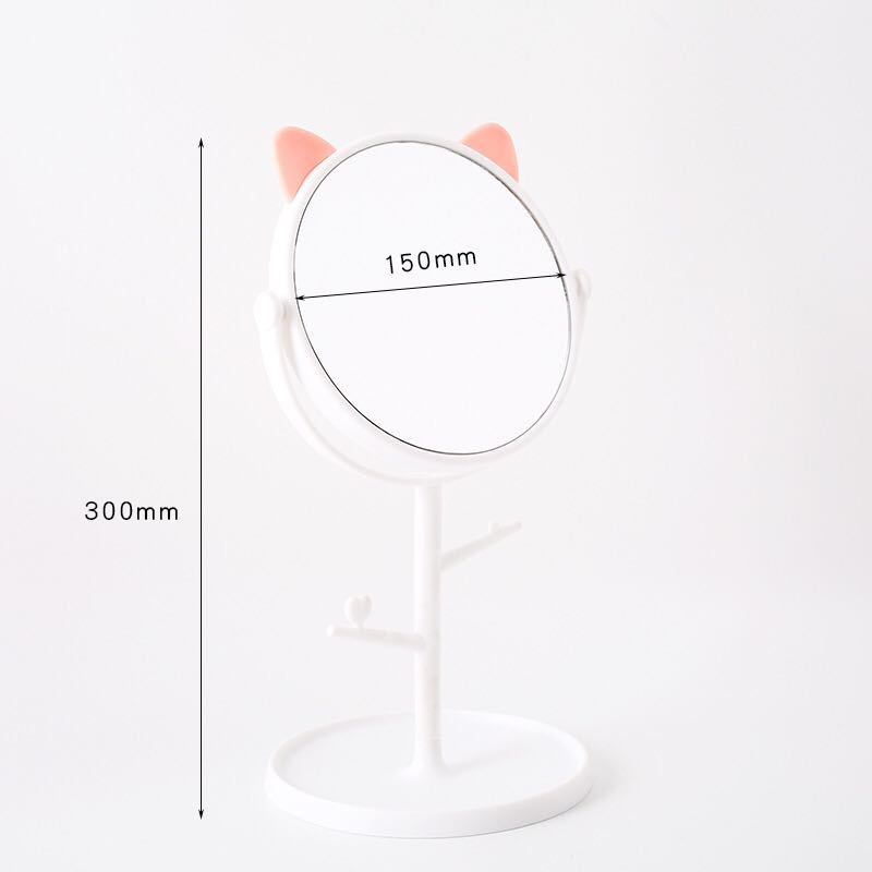猫耳ミラー 鏡 立て式 アクセサリー収納 卓上 可愛い化粧鏡 ホワイト