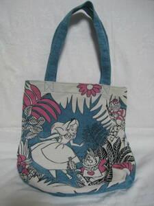 ディズニーストア 不思議の国のアリス トートバッグ 中古 時計うさぎ チェシャ猫